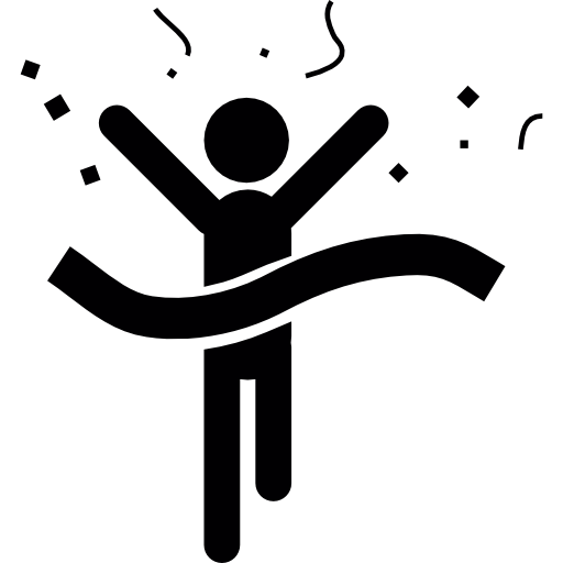 Бегун-победитель прибывает в конечную линию  бесплатно иконка