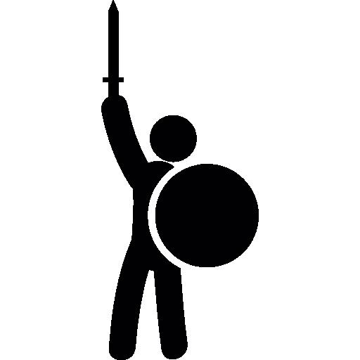 guerreiro com espada e escudo  grátis ícone