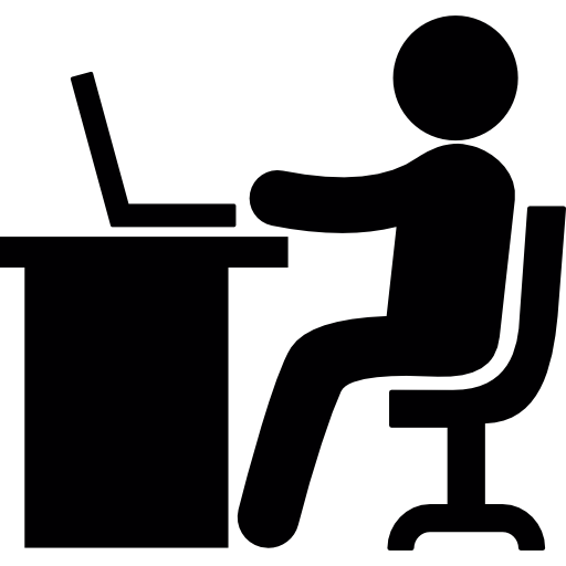 Working with laptop  free icon