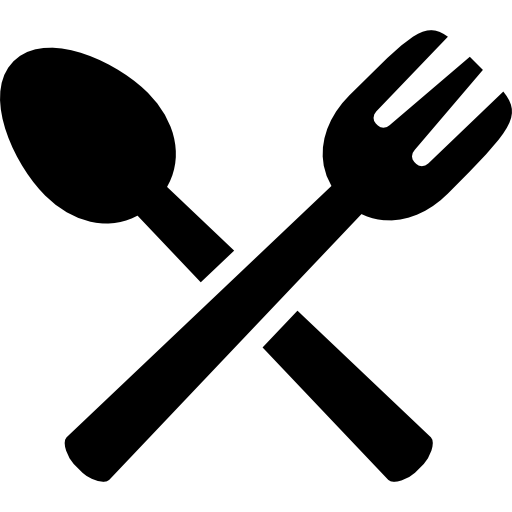 Spoon and fork crossed  free icon
