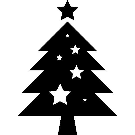 Рождественская елка со звездами украшения  бесплатно иконка