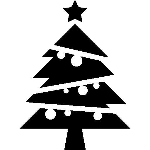 Елка с шарами и звездой сверху  бесплатно иконка