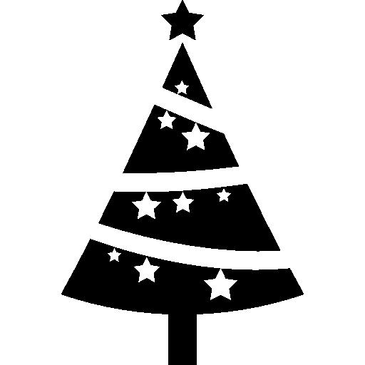Елка, украшенная звездами  бесплатно иконка