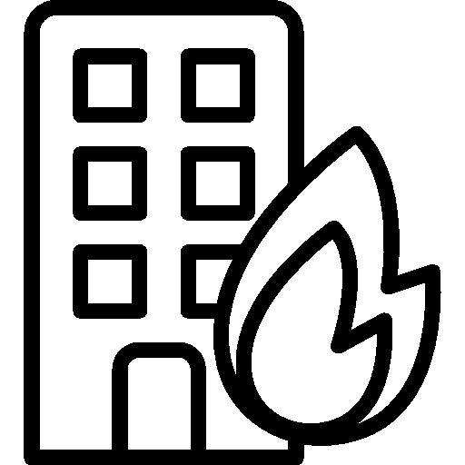 brennendes gebäude  kostenlos Icon
