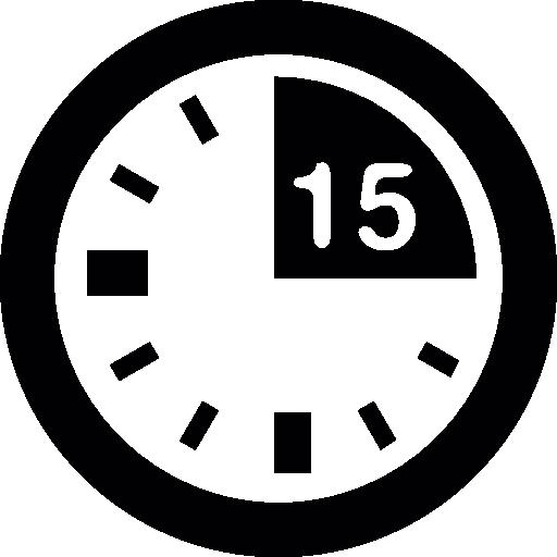 marque de 15 minutes sur l'horloge  Icône gratuit