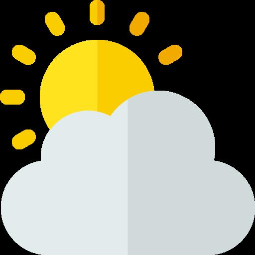 nuages et soleil  Icône gratuit
