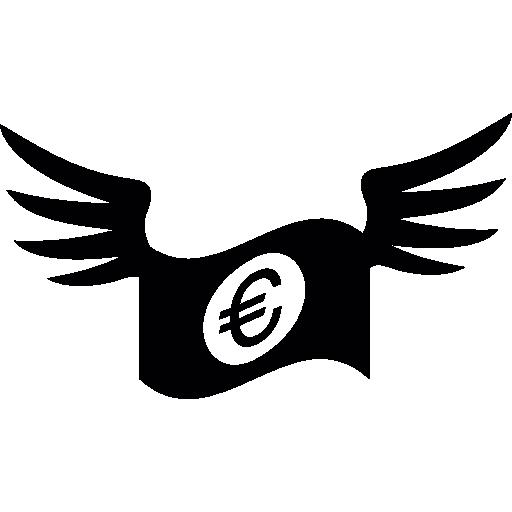 euro-rechnung mit flügeln  kostenlos Icon