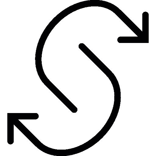 deux flèches courbes opposées  Icône gratuit