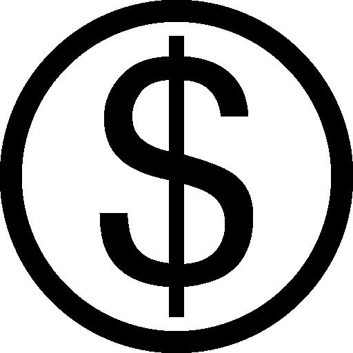 dollarsymbol auf kreis  kostenlos Icon
