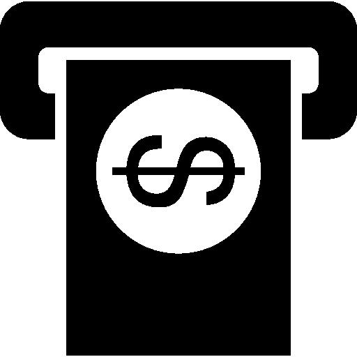 Долларовая банкнота через банкомат  бесплатно иконка