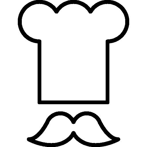 Chef toque and mustache  free icon