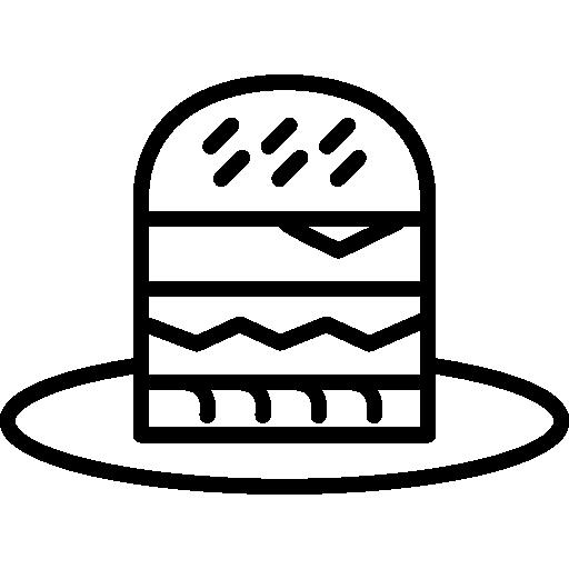 Наброски мультфильм бургер на тарелке  бесплатно иконка