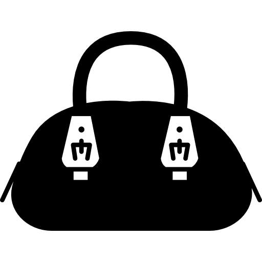Female hand bag with metal handle tips  free icon