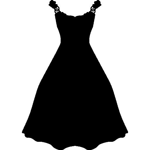 Dress long and black shape  free icon