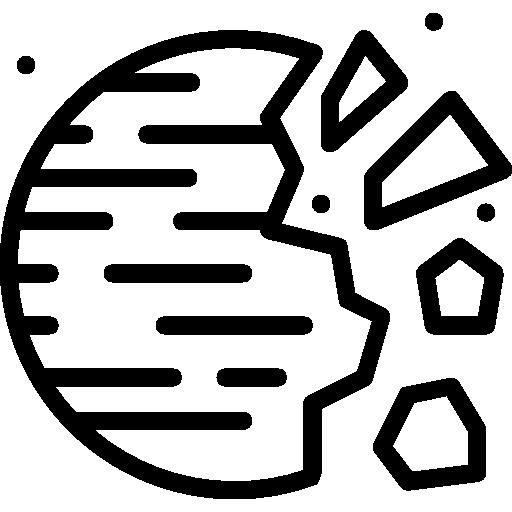 planeta destruído  grátis ícone
