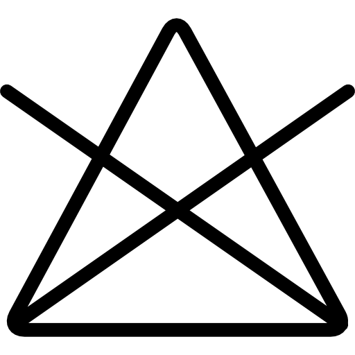 Washing option symbol of a triangle with a cross  free icon