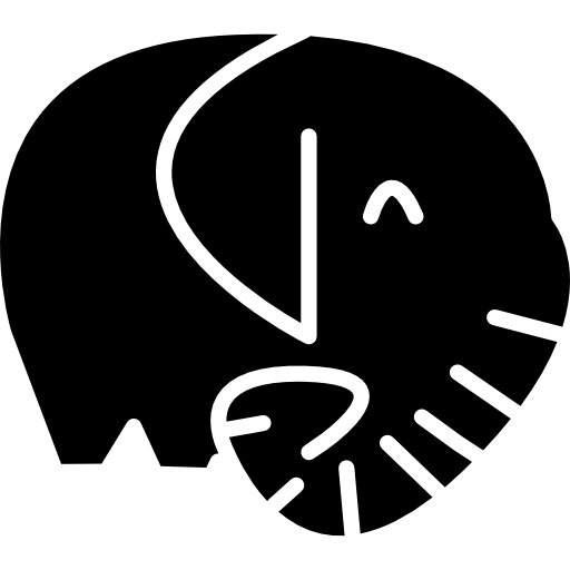 코끼리 검은 포유류 측면보기  무료 아이콘