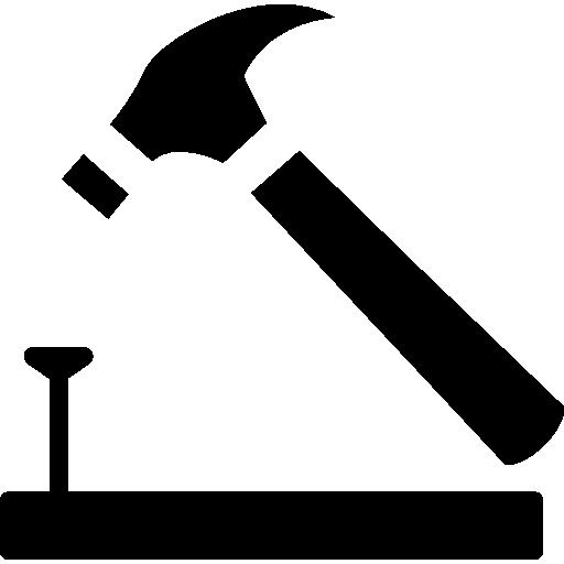 marteau et clou sur contour en bois  Icône gratuit