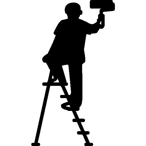 pintor masculino com rolo e escada  grátis ícone