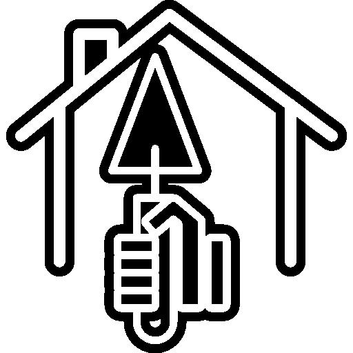 main avec pelle triangulaire à l'intérieur d'un contour de la maison  Icône gratuit