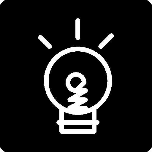 doodle ampoule sur fond noir carré  Icône gratuit