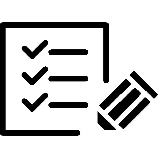 Контрольный список бумаги с ручкой  бесплатно иконка