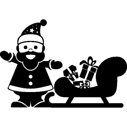 Рождественский Санта стоит рядом с санями  бесплатно иконка