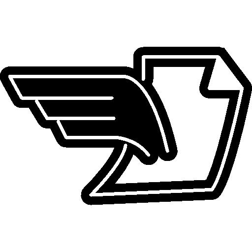 document plié avec des ailes  Icône gratuit