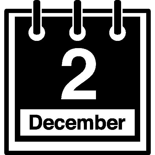 parede da página do calendário diário em 2 de dezembro  grátis ícone