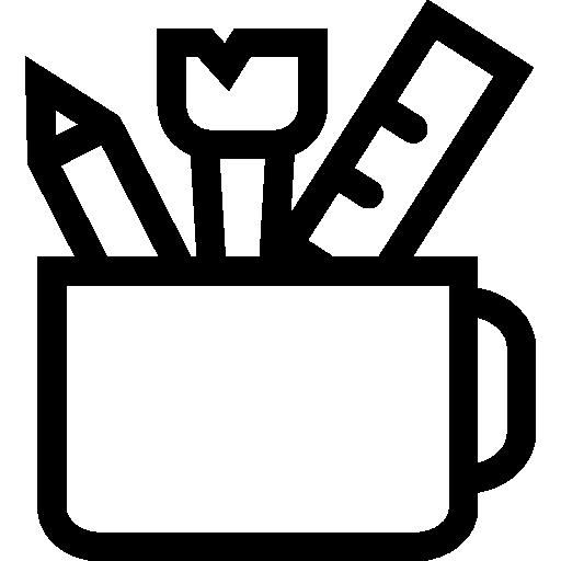 Офисная утварь внутри чашки  бесплатно иконка