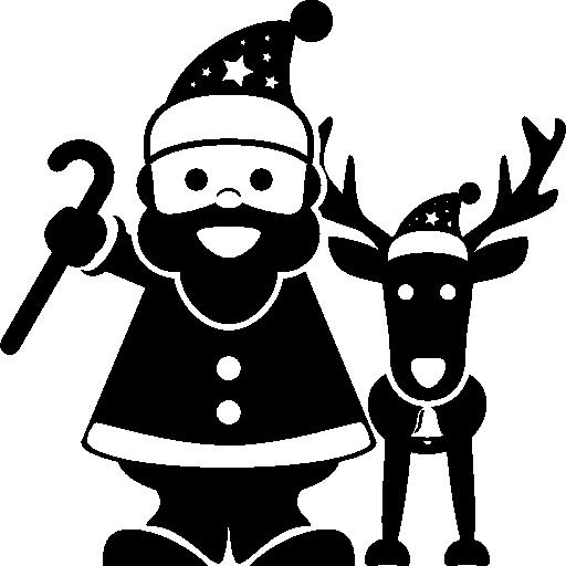 Санта-Клаус стоит с оленями  бесплатно иконка