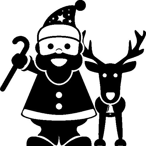 Рождественский Санта-Клаус с оленями рядом  бесплатно иконка