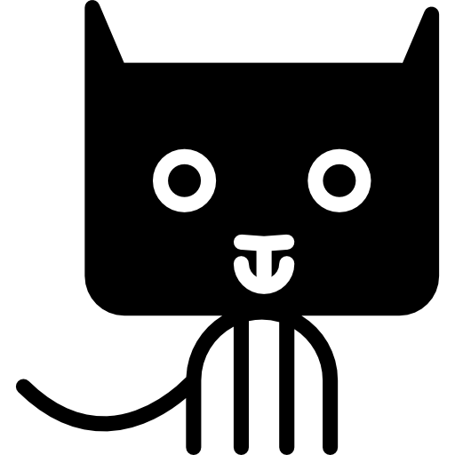 Cat cartoon of rectangular rounded head  free icon