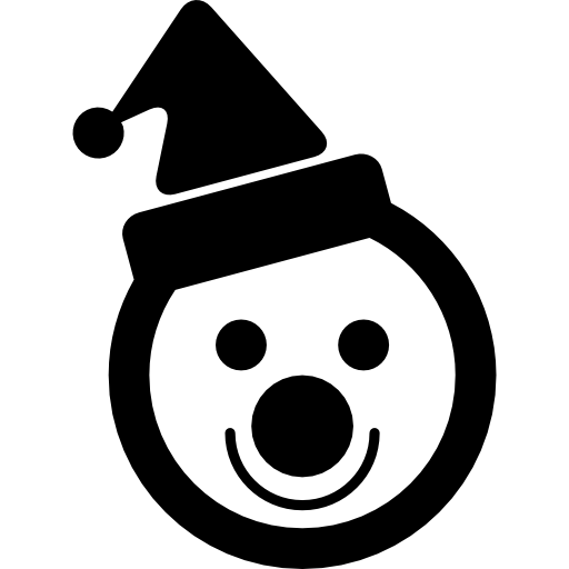 Голова снеговика с чепчиком и клоунским носом  бесплатно иконка