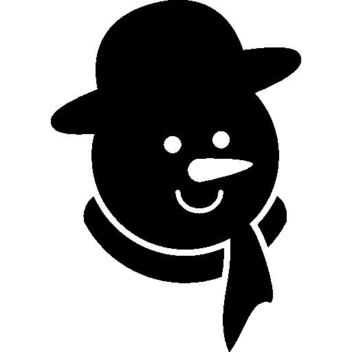 Голова снеговика в черном цвете с морковным носиком, шарфом и округлой шляпой  бесплатно иконка
