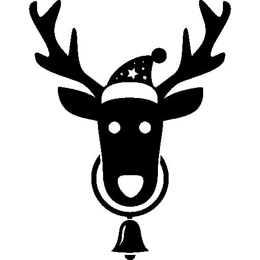 Голова оленя в шляпе Санта-Клауса и колокольчик, свисающий с его шеи  бесплатно иконка