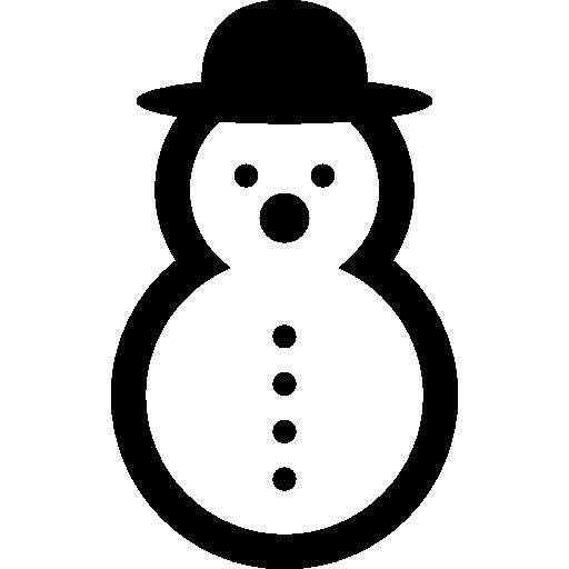 Снеговик округлой формы в округлой шляпе  бесплатно иконка
