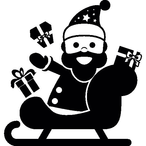 Санта-Клаус на санях  бесплатно иконка
