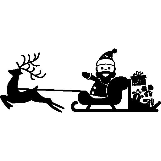 Дед Мороз на санях, которые несет олень  бесплатно иконка