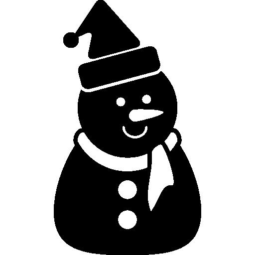 Рождественский черный снеговик с чепчиком и шарфом  бесплатно иконка