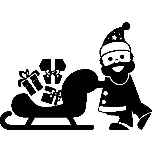 Дед Мороз и его сани, полные подарков  бесплатно иконка