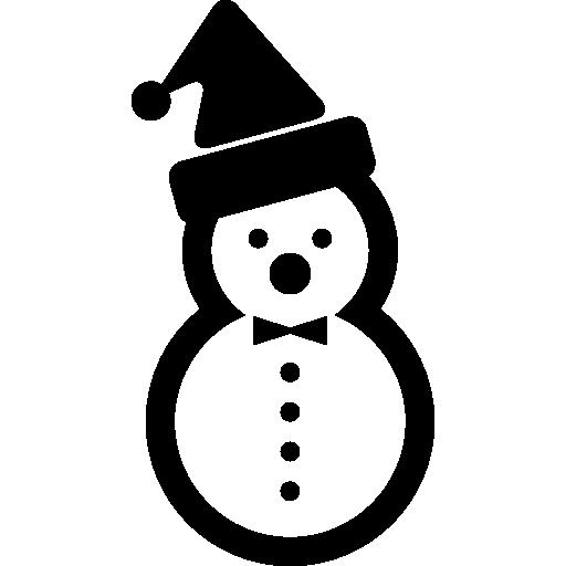 Снеговик из двух снежных шаров с новогодним чепчиком  бесплатно иконка