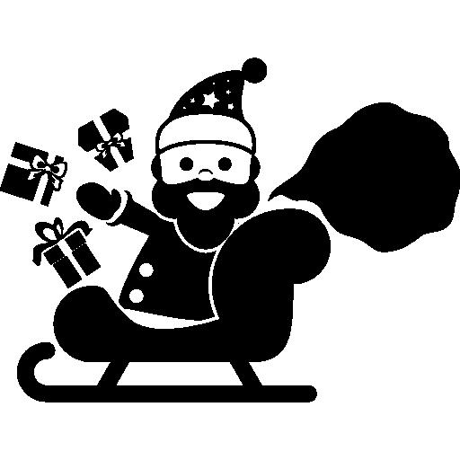 Санта-Клаус сидит на санях с подарками в руках  бесплатно иконка