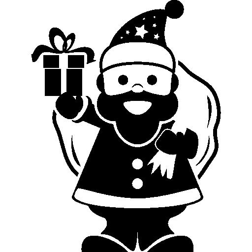Санта-Клаус держит сумку с подарками на спине и звонит в колокольчик  бесплатно иконка