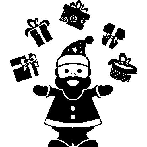 Санта-Клаус играет с подарками на арке между руками, делая жонглирование, как жонглер  бесплатно иконка