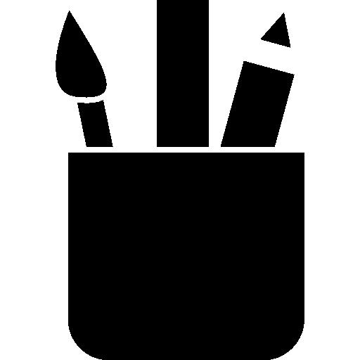 Чашка с кисточкой, линейкой и карандашом  бесплатно иконка