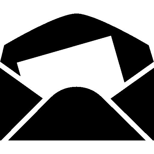 enveloppe en papier noir avec une feuille blanche à l'intérieur  Icône gratuit