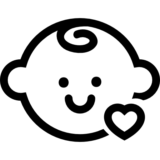 Baby head with a small heart outline  free icon