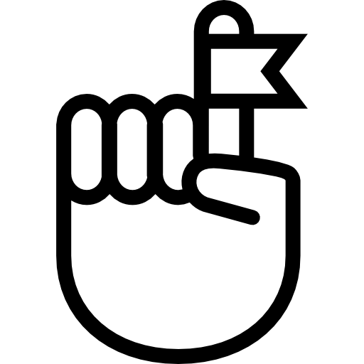 Hand finger with a ribbon  free icon