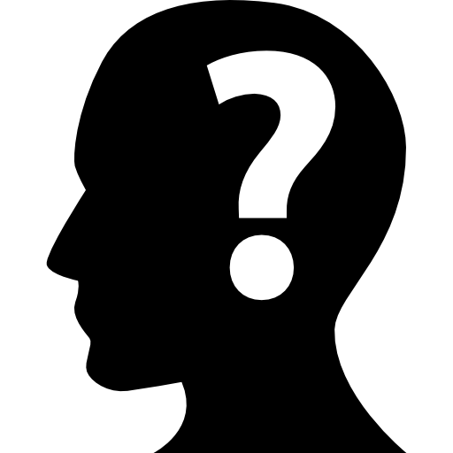 Human head with a question mark inside  free icon